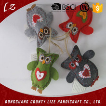 xmas ornament handicraft with felt owl decoration