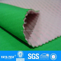 3 layers pink green ripple polar fleece laminated stretch waterproof polyester spandex fabric for sportswear