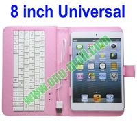 Universal 8 inch Tablets Wired Keyboard Leather Cover