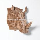 Diy madeira cabeça Rhino Jigsaw puzzle piece