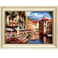 Hot sale oil painting on canvas diy digital painting kit with beautiful landscape