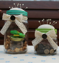 DIY Household transparent glass bottle with sewing kit,pin packages,button,sewing kit,etc.