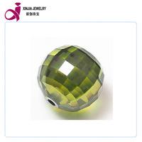 Olive Round Ball shape CZ gemstone 2mm hole beads gemstone