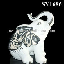 Isolate the silver plating white ceramic elephant home decoration