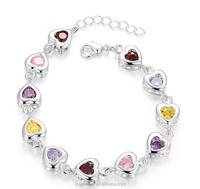 Fashion colorful CZ silver heart bracelet