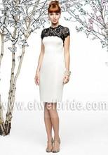 Charming High Neck Short Sleeve Black Lace Bodice Knee Length Black And White Bridesmaid Dress