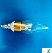 OEM for manufacturer supply E14 LED Candle Light golden shape 5w SMD5730 Aluminum and Plastic