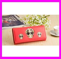 JD1144 New japanese style girls wallet style red PU skull punk wallet wholesale