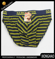 New design stripe 100% cotton children thongs underwear with customized paper label
