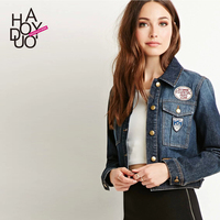 HAODUOYI Autumn Women Short Style Denim Jackets Applique Casual Blazers for Wholesale