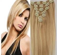 7pcs #18/613-light ash blonde mix blonde real Human Full Head Remy Clip in Virgin Human Hair Extensions