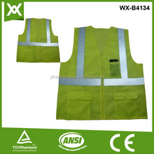 lime 120gsm mesh fabric safety vest with pockets