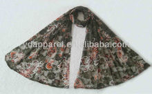 2012 dark army green hot sale printing lace inner scarf(SCF121008_1607)