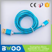 Custom Fitted Best Quality Durable Fabric Textile Micro Usb Cable