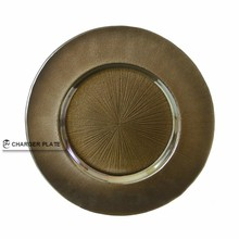 "DAYA 13"" Round Glass Copper Burst Charger Plate"