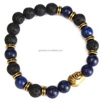 Fashion natural Lapis lazuli Volcanic rock bead 8mm Buddha lucky man bracelet