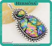 Hermosa 2015 Whosale Vintage Dichroic Glass Coloured Glaze 925 Sterling Silver Custome women Pendant