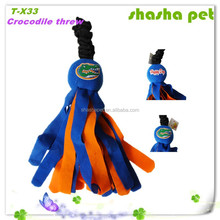 Crocodile threw plush squeaker pet toy,pet product from China Factory wholesales