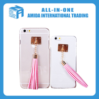 Plastic cell phone cases with leather tassel pendant