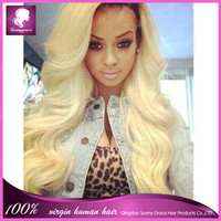 200% density ombre 1b/613 color brazilian human hair left side part two/2 tone blond color full lace wavy wigs for women