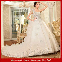 WD-2691 One shoulder hand made ball gown wedding dress long train wedding dress real sample