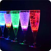 FDA colorful LED glass grade plastic LED champagne glass Flutes decoration LED Light Up Liquid drink cup