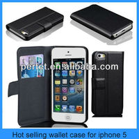 Card Holder Purse PU Leather Wallet Case For Apple iPhone 5 5G Flip Stand Black(PT-I5203)