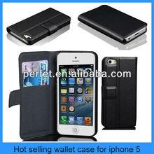 Card Holder Purse PU Leather Wallet Case For Apple iPhone 5 5G Flip Stand Black(PT-I5203)