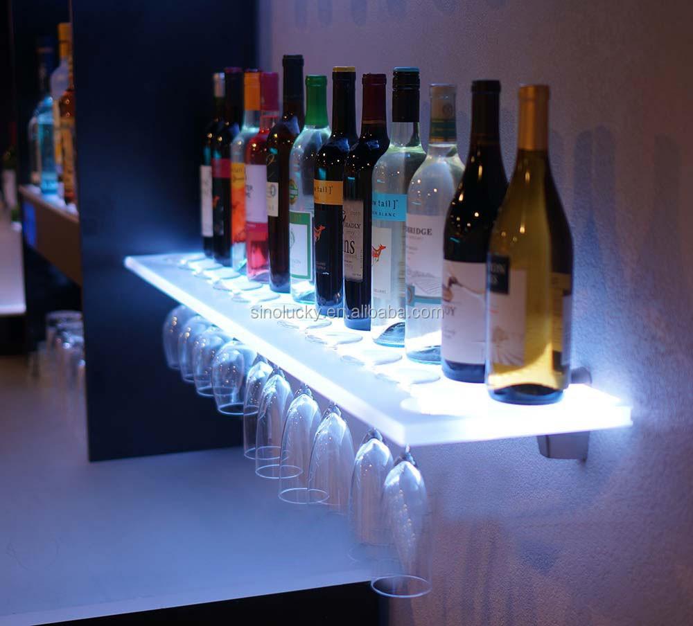 Home Bar Bottle Shelf Liquor Display With Led Lighting