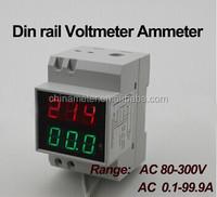 2in1 Dual display Voltmeter Ammeter AC 80V-300V AC0.1-99.9A Red/Green Voltage Current Monitor Meter DIN-RAIL