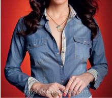 2015 slim fit latest shirt design denim polo casual women blouse