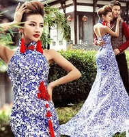 Z75988A Elegant European Blue printed Fish tail Chenongsam style Women's Wedding Dress