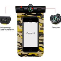 Camouflage Underwater Waterproof Diving Protect Bag Cover with Compass for iPhone 5/ 5s, for samsung s5, s4, for htc one