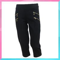 OEM style multi pockets black capri pants for women