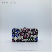 Fashion mini women evening handbag clear crystal clutch evening bag pink flower TFC1611