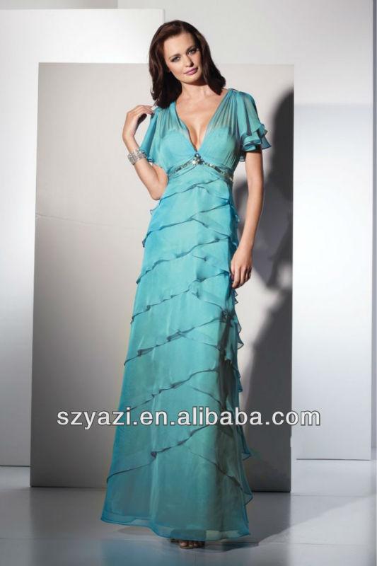 Niza azul de gasa con cuentas vestido de las mujeres k439
