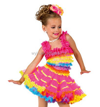 adorable tutu dress/ multiple layers of lace ruffles /colorful performance costume/