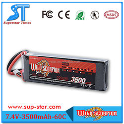 2015 Best selling item 7.4V 2S 60C rechargeable 3500mAh rc battery pack