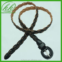 Fashion black real leather crochet lady casual jean belts for decoration YKK815