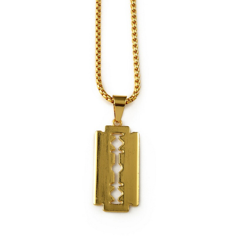 Gold  Razor Blade Pendant Necklace GN03010G01 (2).jpg