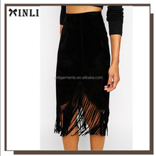 Fashion Design Black Long Pencil Skirt with Tassel