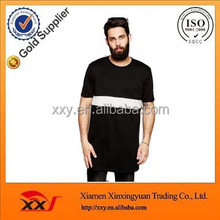 China Manufacturer Fashion Apparel Extra Super Longline T-Shirt With Woven Insert And Zip Extender Skater Fit T Shirts