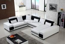Modern Living Room Sofa White U Shaped Leather Sofa