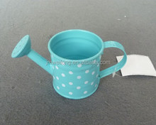 Blue white dot/ Small Pot/Galvanized Metal Garden decoration/Watering Can/Plant Shower
