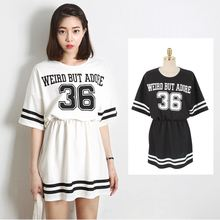 Loose College Wind girls sports department baseball navy stripe dress style alphanumeric Fat Girl 750