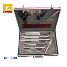 high end aluminium case 13pcs stainless steel kitchen knife and scissor set