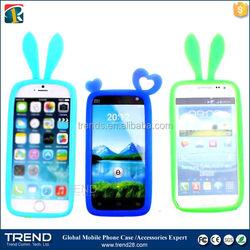 flexible round design cute rabbit ear universal silicon bumper for iphone 6