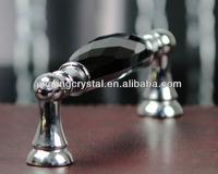 Black Crystal Glass Zinc Alloy Handle 128mm / 96mm China factory