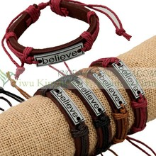 Hot sale alloy slogan leather believe bracelets with cotton cord fastener wholesale