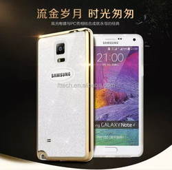 PC bumper + TPU back cover case for samsung note 4/2 in 1 mobile phone case/glitter cell phone case for samsung note 4